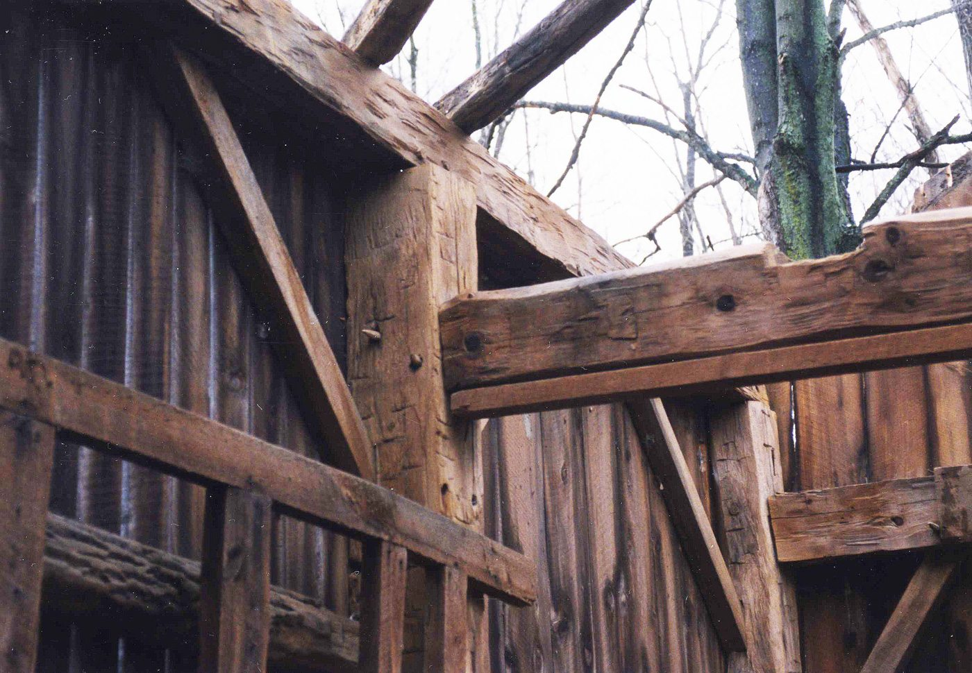 Detail of Corn Crib post and cross beams, 2001, Photograph by Constance Kheel