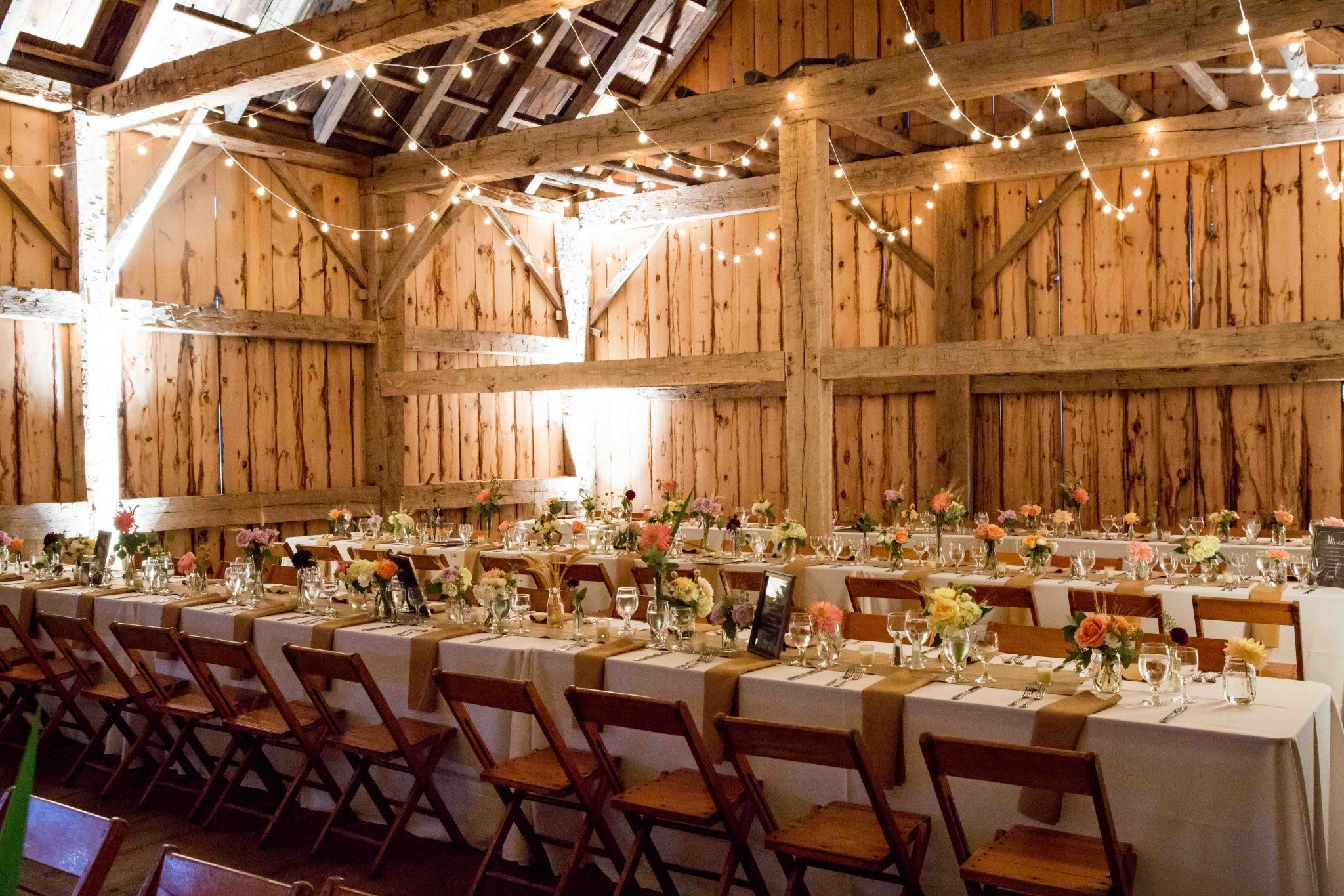 Rustic chic wedding reception in the Scottish Barn, Trisha Millier Photography