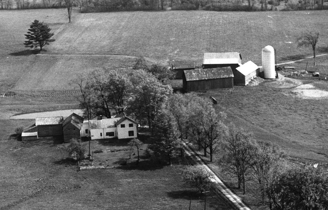 Aerial view of Nipmoose Farm, c. 1960s, Photographer unknown