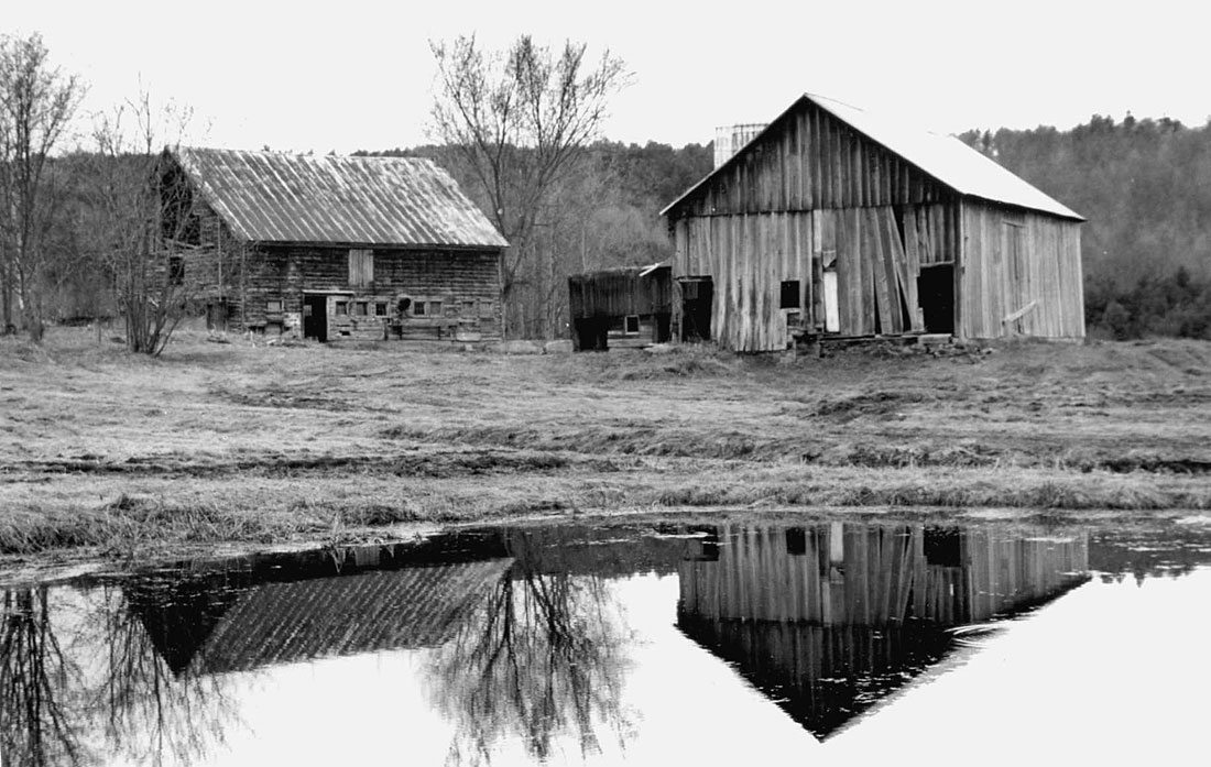 Before restoration, German Barn left, Scottish Barn right, 2000, Photograph by Constance Kheel