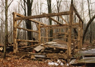 Corn Crib frame before restoration, 2001, Photograph by Constance Kheel