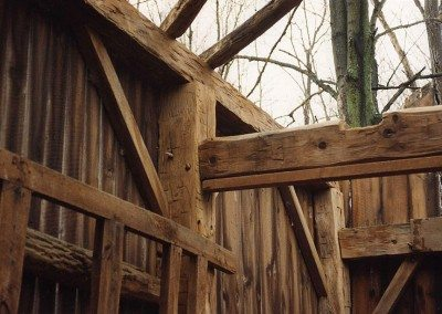Detail of Corn Crib before restoration, 2001, Photograph by Constance Kheel