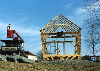 Corn Crib frame during restoration, 2002, Photograph by Constance Kheel