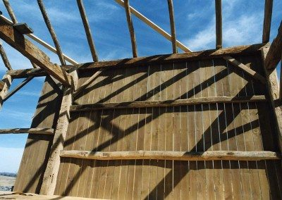 Detail of Corn Crib during restoration, 2002, Photograph by Constance Kheel