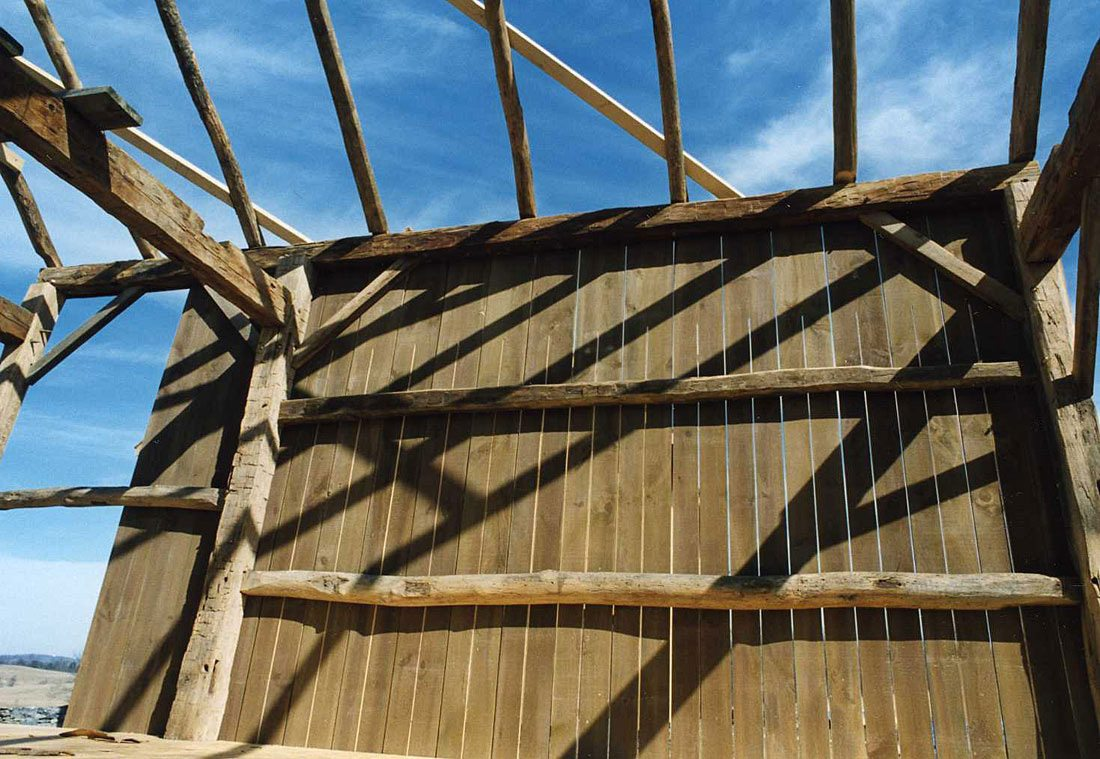 Detail of Corn Crib frame, 2002, Photograph by Constance Kheel