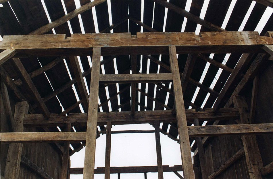 Detail of Corn Crib frame, 2002 , Photograph by Constance Kheel