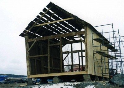 Corn Crib during restoration, 2002, Photograph by Constance Kheel