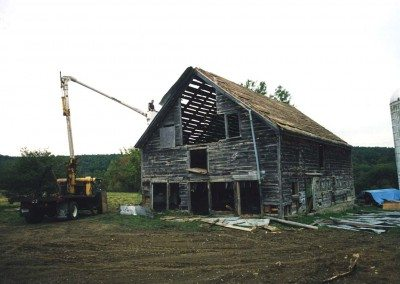 German Barn being dismantled, 2000, Photograph by Constance Kheel