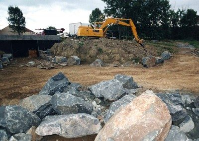 German Barn foundation during construction, 2001, Photograph by Constance Kheel