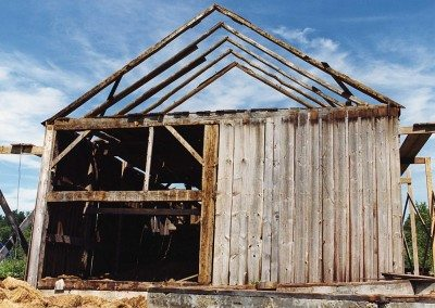Scottish Barn being dismantled, 2000, Photograph by Constance Kheel