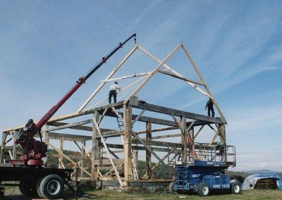 Scottish Barn frame during restoration, 2003, Photograph by Constance Kheel
