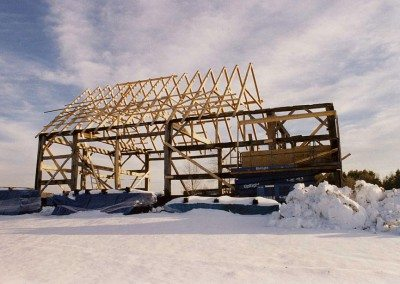 Scottish Barn frame during restoration, 2004, Photograph by Constance Kheel
