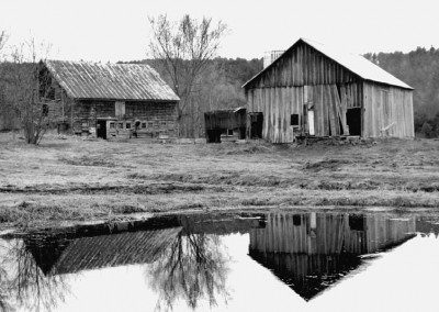 From left, German Barn and Scottish Barn before restoration, 2000, Photograph by Constance Kheel