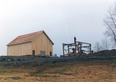 Historic Barns of Nipmoose during restoration, 2002, Photograph by Constance Kheel
