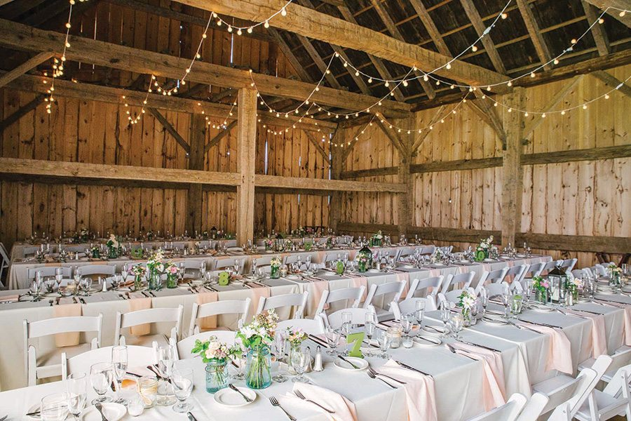 Rustic chic wedding reception in the Scottish Barn, Christina Bernales Photography