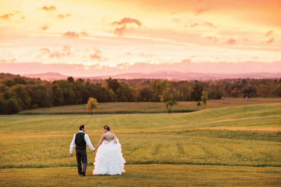 Wedding portrait at sunset, Christina Bernales Photography
