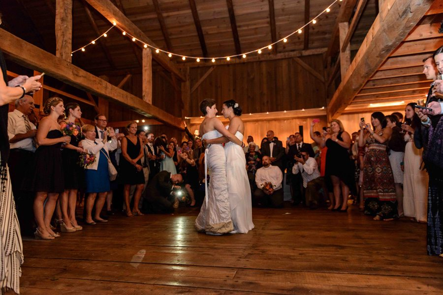 The couple's first dance in the German Barn, Photography by Renee