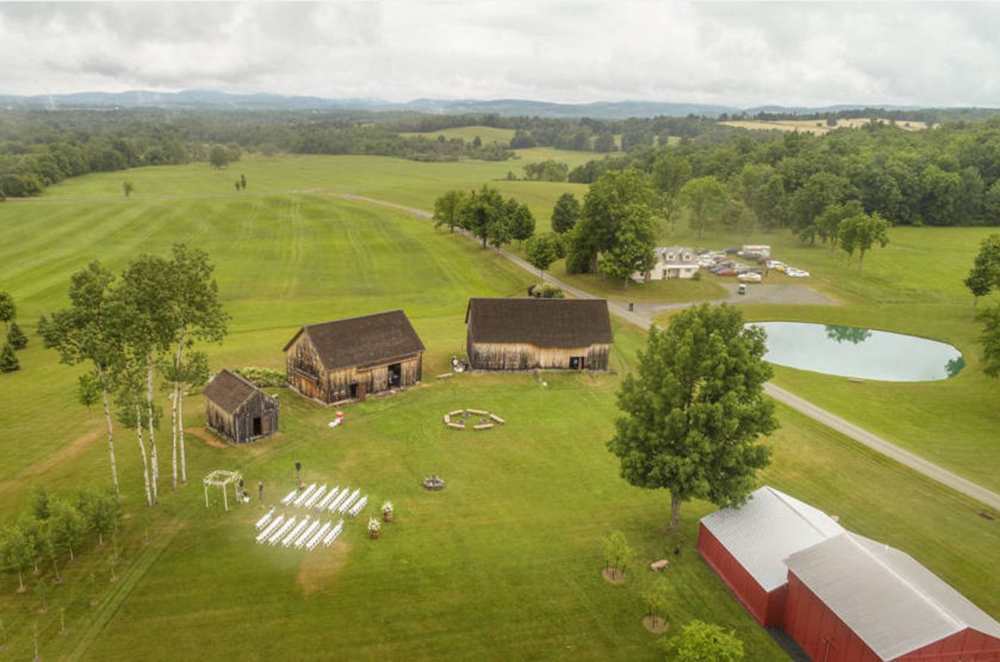 Aerial view of Nipmoose barns and grounds, Dave Bigler Photo